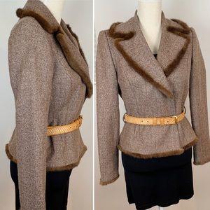 VTG Genuine Fur Trimmed Tweed Blazer